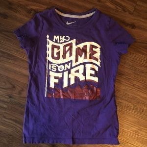 Nike Girl's My Game Is On Fire Graphic Tee Small